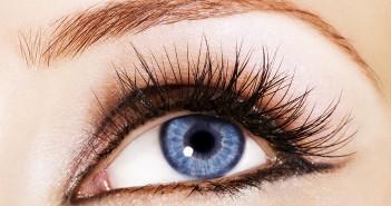 Closeup of woman blue eye