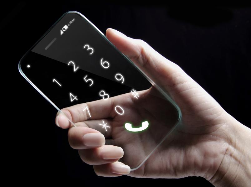 Hand holding futuristic transparent smartphone