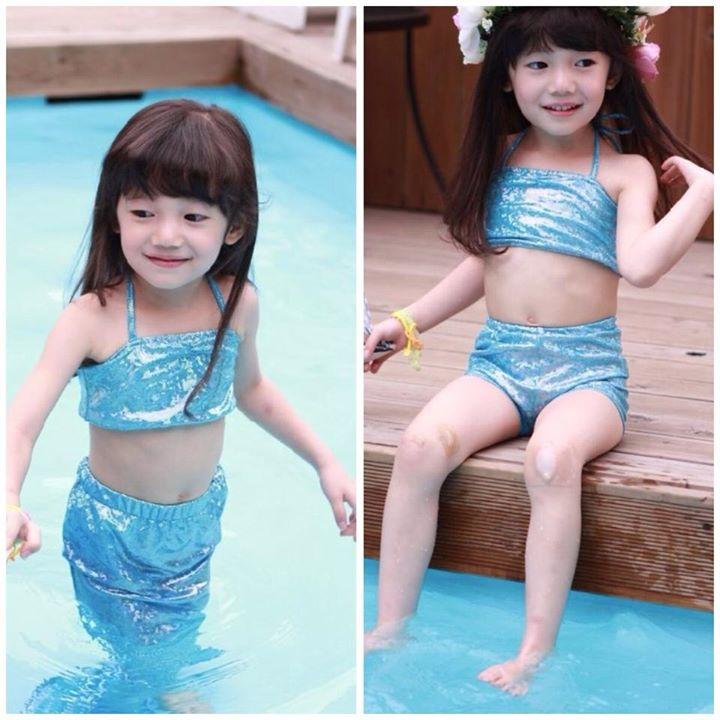 ชุดนางเงือก ชุดว่ายน้ำเด็ก ชุดเงือกน้อย บิกินี่เด็ก