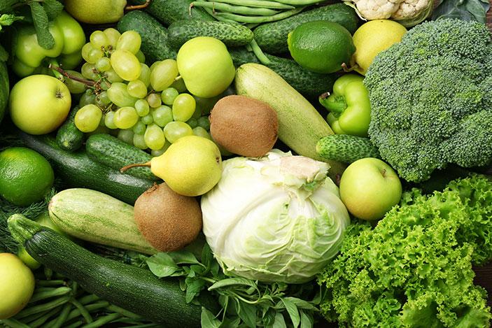 ผักผลไม้สีเขียว