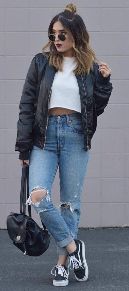 กางเกงยีนส์สาวร็อค